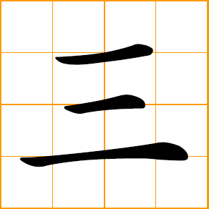 Chinese symbol - three, the number 3