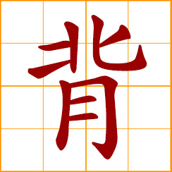 simplified Chinese symbol: carry on the back; to bear, to shoulder