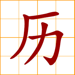 simplified Chinese symbol: undergo, go through