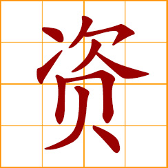 simplified Chinese symbol: money, capital, resource, expense; to provide, support, supply; aptitude, ability, talent, endowment